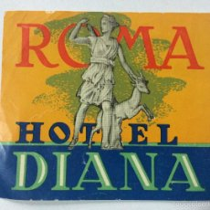 Etiquetas antiguas: ETIQUETA HOTEL DIANA, ROMA ITALIA, LUGGAGE LABEL, MEDIDAS 10 X 8,7 CM. Lote 57201180