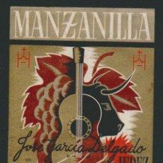 Etiquetas antiguas: ETIQUETA DE VINO DE MANZANILLA ANDALUZA.JOSÉ GARCÍA DELGADO.JEREZ DE LA FRONTERA.. Lote 57318591