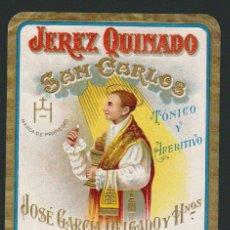 Etiquetas antiguas: ETIQUETA DE JEREZ QUINADO SAN CARLOS.JOSÉ GARCÍA DELGADO Y HNOS.JEREZ DE LA FRONTERA.. Lote 57318620