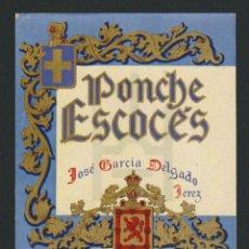 Etiquetas antiguas: ETIQUETA DE PONCHE ESCOCÉS.JOSÉ GARCÍA DELGADO.JEREZ DE LA FRONTERA.. Lote 57319155