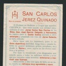 Etiquetas antigas: ETIQUETA ( CONTRA ) DE JEREZ QUINADO SAN CARLOS.JOSÉ GARCÍA DELGADO Y HNOS.JEREZ DE LA FRONTERA.. Lote 57319477