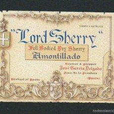 Etiquetas antigas: ETIQUETA DE VINO AMONTILLADO LORD SHAERRY.JOSÉ GARCÍA DELGADO.JEREZ DE LA FRONTERA.. Lote 57319845