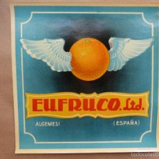 Etiquetas antiguas: 25 ANTIGUAS ETIQUETAS DE NARANJAS - EUFRUCO LTD.- ALGEMESI, VALENCIA. Lote 116151162