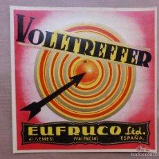 Etiquetas antiguas: LOTE 25 ANTIGUAS ETIQUETAS DE NARANJAS - VOLLTREFFER EUFRUCO LTD.- ALGEMESI, VALENCIA. Lote 75956962