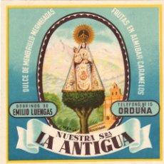 Étiquettes anciennes: ETIQUETA DULCE DE MEMBRILLO NUESTRA SEÑORA LA ANTIGUA. ORDUÑA. AÑOS 60. Lote 58013635
