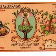 Étiquettes anciennes: ETIQUETA MERMELADA MANZANA FABRICA DE CONSERVAS NUESTRA SEÑORA LA ANTIGUA. ORDUÑA. Lote 58013699