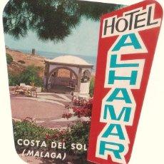 Etiquetas antiguas: ETIQUETA HOTEL ALHAMAR, COSTA DEL SOL. . Lote 58110745