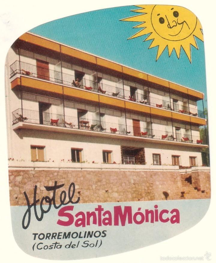 ETIQUETA HOTEL SANTA MÓNICA, TORREMOLINOS, COSTA DEL SOL. (Coleccionismo - Etiquetas)