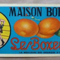 Etiquetas antiguas: 15 ETIQUETAS DE NARANJAS - MAISON BORRAS LIEGE - LES BOXEURS, BOXEO. Lote 163959966