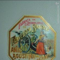 Etiquetas antiguas: ETIQUETA DE ANÍS AGUSTINA DE ARAGÓN - FRANCISCO SANCHEZ - ATECA - ZARAGOZA. Lote 72164214