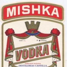 Etiquetas antiguas: ETIQUETA *VODKA MISHKA* - DESTILERIAS CASTILLA (SANTANDER) - 15X10,5 CM. Lote 58422234