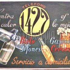 Etiquetas antiguas: ETIQUETA CARTEL PUBLICIDAD SERVICIO A DOMICILIO TELEFONO 1427 CERVEZA SIFONES GASEOSA HIELO AÑOS 40. Lote 115600648