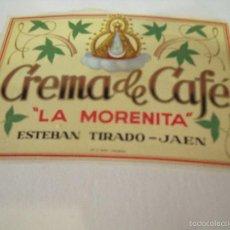Etiquetas antiguas: CREMA DE CAFE LA MORENITA JAEN. Lote 174323195