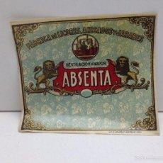 Etiquetas antiguas: RARA ETIQUETA DE ABSENTA DESTILERIAS MARINO FERRER CASTELLON. Lote 66797109