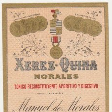 Etiquetas antiguas: ETIQUETA. XEREZ - QUINA. MORALES. MANUEL DE MORALES - JEREZ.. Lote 60927343