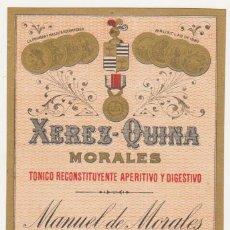 Etiquetas antiguas: ETIQUETA. XEREZ - QUINA. MORALES. MANUEL DE MORALES - JEREZ.. Lote 60947927