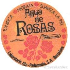 Etiquetas antiguas: AGUA DE ROSAS - LABORATORIO ALE-PEDEMONTE . Lote 61377283