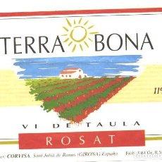Etiquetas antiguas: TERRA BONA - VI DE TAULA ROSAT - CORVISA. Lote 61384411