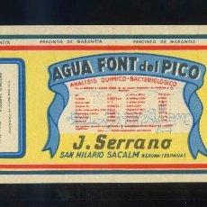 Etiquetas antiguas: SANT HILARI DE SACALM *AGUA FONT DEL PICO. J. SERRANO* MEDS: 80 X 178 MMS.. Lote 62496658
