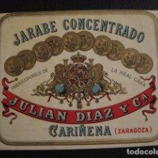 Etiquetas antiguas: JARABE CONCENTRADO JULIAN DIAZ - ETIQUETA - CARIÑENA -VER FOTOS ADICIONALES - (V-6525). Lote 61745104