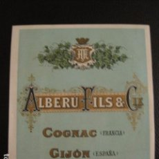 Etiquetas antiguas: ALBERU FILS - COÑAC -ETIQUETA - GIJON -VER FOTOS ADICIONALES - (V-6526). Lote 61745188