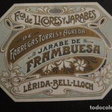 Etiquetas antiguas: JARABE FRAMBUESA - FABREGAS TORRES Y AGREDA -ETIQUETA - BELLOCH -VER FOTOS ADICIONALES - (V-6529). Lote 61745540