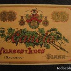 Etiquetas antiguas: CANELA - VELASCO Y LUGO NAVARRA -ETIQUETA - VIANA -VER FOTOS ADICIONALES - (V-6530). Lote 61745732