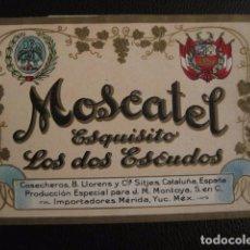 Etiquetas antiguas: MOSCATEL LOS DOS ESCUDOS -ETIQUETA - SITJES -VER FOTOS ADICIONALES - (V-6532). Lote 61745964