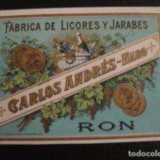 Etiquetas antiguas: LICORES CARLOS ANDRES -ETIQUETA - HARO -VER FOTOS ADICIONALES - (V-6534). Lote 61746100