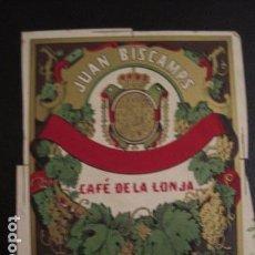 Etiquetas antiguas: JUAN BISCAMPS - CAFE DE LA LONJA -ETIQUETA MUY ANTIGUA -VER FOTOS ADICIONALES - (V-6538). Lote 61746556