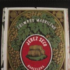 Etiquetas antiguas: JEREZ SECO - COLMADO MADRILEÑO -ETIQUETA MUY ANTIGUA -BARCELONA -VER FOTOS ADICIONALES - (V-6539). Lote 61746644