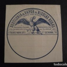 Etiquetas antiguas: DESTILERIA VAPOR NICOLAS REGAS ETIQUETA - GERONA -VER FOTOS ADICIONALES - (V-6544). Lote 61747448