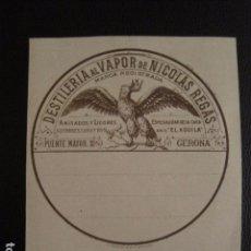 Etiquetas antiguas: DESTILERIA VAPOR NICOLAS REGAS ETIQUETA - GERONA -VER FOTOS ADICIONALES - (V-6545). Lote 61747536