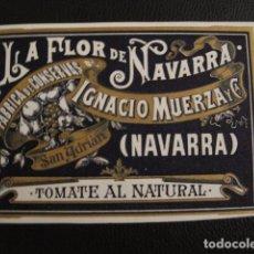 Etiquetas antiguas: TOMATE NATURAL - CONSERVAS MUERZA - ETIQUETA MUY ANTIGUA - NAVARRA -VER FOTOS ADICIONALES - (V-6551). Lote 61748052