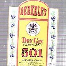 Etiquetas antiguas: ETIQUETA DE DRY GIN DESTILADA 501. CARLOS Y JAVIER DE TERRY. PUERTO DE SANTA MARIA.. Lote 62264804