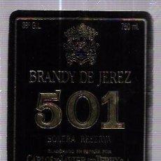 Etiquetas antiguas: ETIQUETA DE BRANDY DE JEREZ 501. SOLERA RESERVA. CARLOS Y JAVIER DE TERRY. PUERTO DE SANTA MARIA.. Lote 62265140