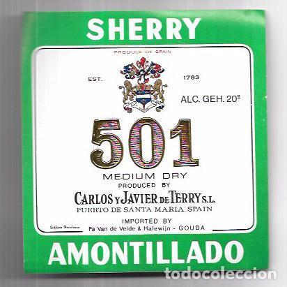 ETIQUETA DE VINO MEDIUM DRY 501. CARLOS Y JAVIER DE TERRY. PUERTO DE SANTA MARIA. (Coleccionismo - Etiquetas)