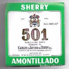 Etiquetas antiguas: ETIQUETA DE VINO MEDIUM DRY 501. CARLOS Y JAVIER DE TERRY. PUERTO DE SANTA MARIA.. Lote 62265488
