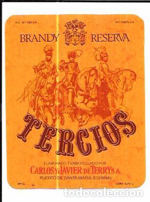 ETIQUETA DE BRANDY RESERVA TERCIOS. CARLOS Y JAVIER DE TERRY. PUERTO DE SANTA MARIA. (Coleccionismo - Etiquetas)