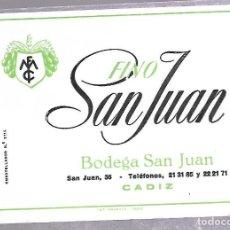 Etiquetas antiguas: ETIQUETA. FINO SAN JUAN. BODEGA SAN JUAN, CADIZ. 14 X 10CM. VER. Lote 62336084
