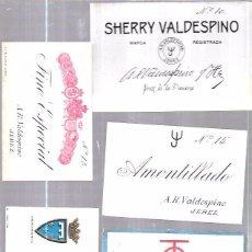 Etiquetas antiguas: LOTE DE 33 ETIQUETAS DE VALDESPINO. JEREZ.. Lote 62338916