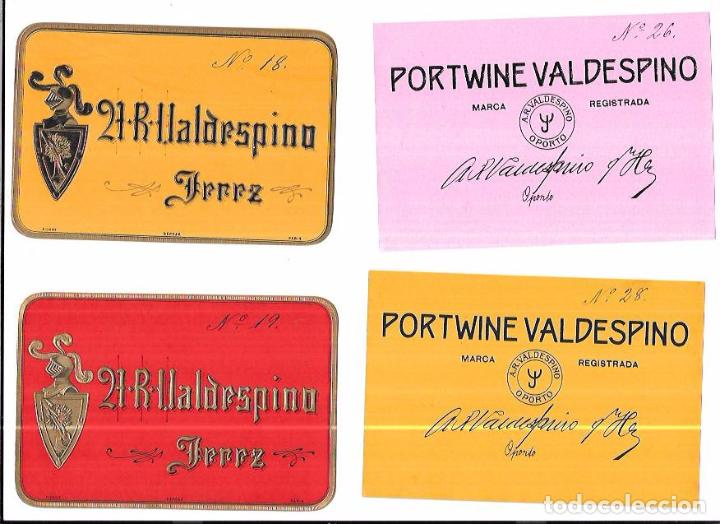 Etiquetas antiguas: LOTE DE 33 ETIQUETAS DE VALDESPINO. JEREZ. - Foto 6 - 62338916