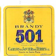 Etiquetas antiguas: ETIQUETA DE BRANDY 501. CARLOS Y JAVIER DE TERRY. PUERTO DE SANTA MARIA.. Lote 62356852