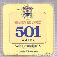 Etiquetas antiguas: ETIQUETA DE BRANDY DE JEREZ 501 SOLERA. CARLOS Y JAVIER DE TERRY. PUERTO DE SANTA MARIA.. Lote 62357188