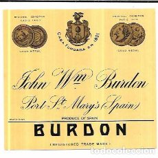Etiquetas antiguas: ETIQUETA DE JOHN WM. BURDON. PORT ST. MARY´S. . Lote 62504160
