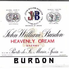 Etiquetas antiguas: ETIQUETA DE JOHN WILLIAM BURDON. HEAVENLY CREAM. PORT ST. MARY´S. . Lote 62504328