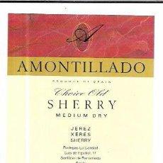 Etiquetas antiguas: ETIQUETA DE VINO AMONTILLADO CHOICE OLD. MEDIUM DRY. BODEGAS LA CARIDAD. SANLUCAR BARRAMEDA. Lote 62529272