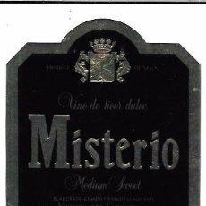 Etiquetas antiguas: ETIQUETA DE VINO DE LICOR DULCE. MISTERIO. MEDIUM SWEET. VINICOLA DEL CONDADO. HUELVA.. Lote 62538352