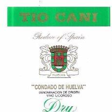 Etiquetas antiguas: ETIQUETA DE VINO TIO CANI. VINO LICOROSO. DRY. SOCIEDAD VINOS DEL CONDADO. HUELVA.. Lote 62538576