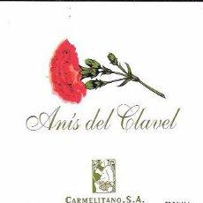 Etiquetas antiguas: ETIQUETA DE ANÍS DEL CLAVEL. CARMELITANO, S.A CAZALLA DE LA SIERRA. SEVILLA.. Lote 62569940